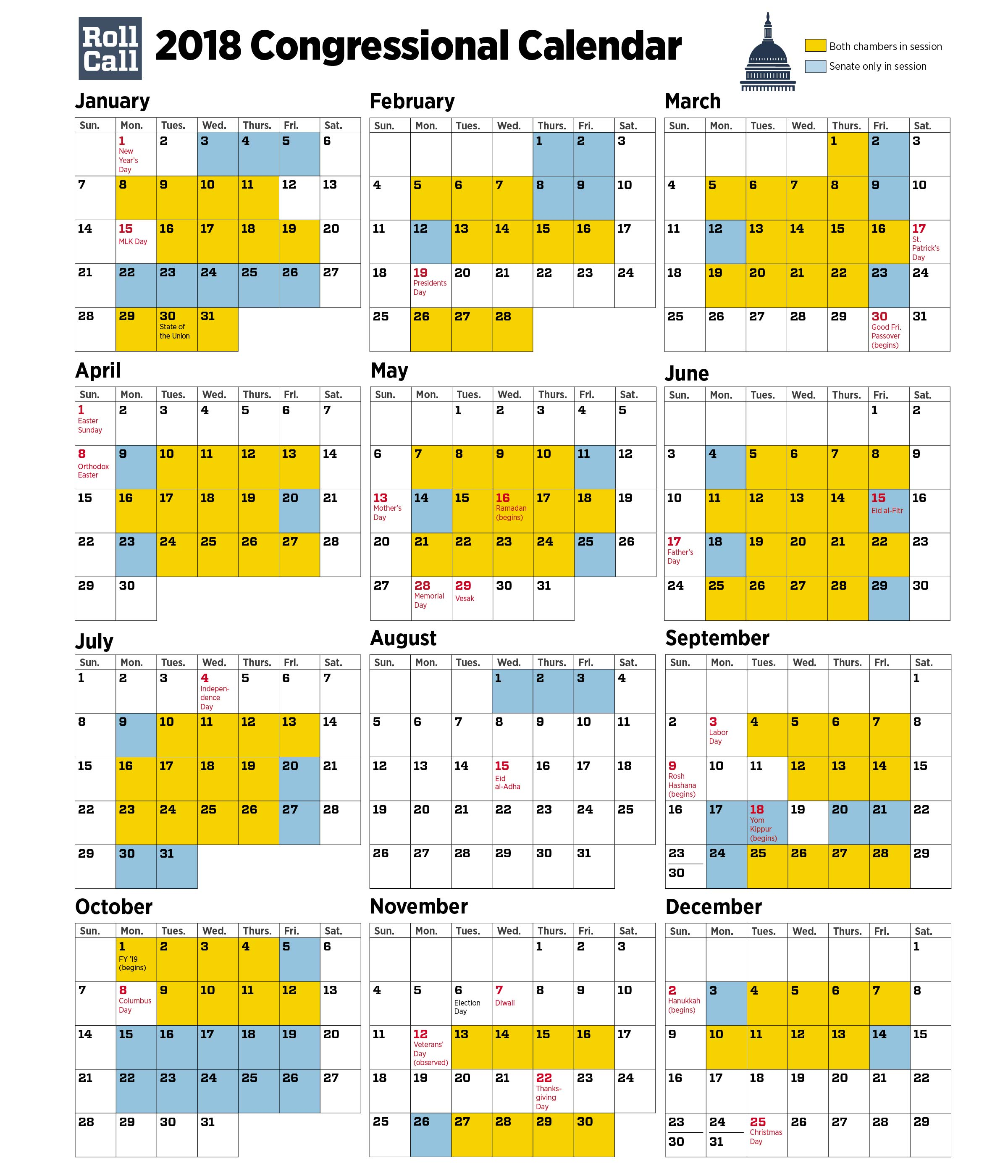 roll call created the visual representation of the congressional calendar below highlighting the days when both chambers are in session in yellow and the